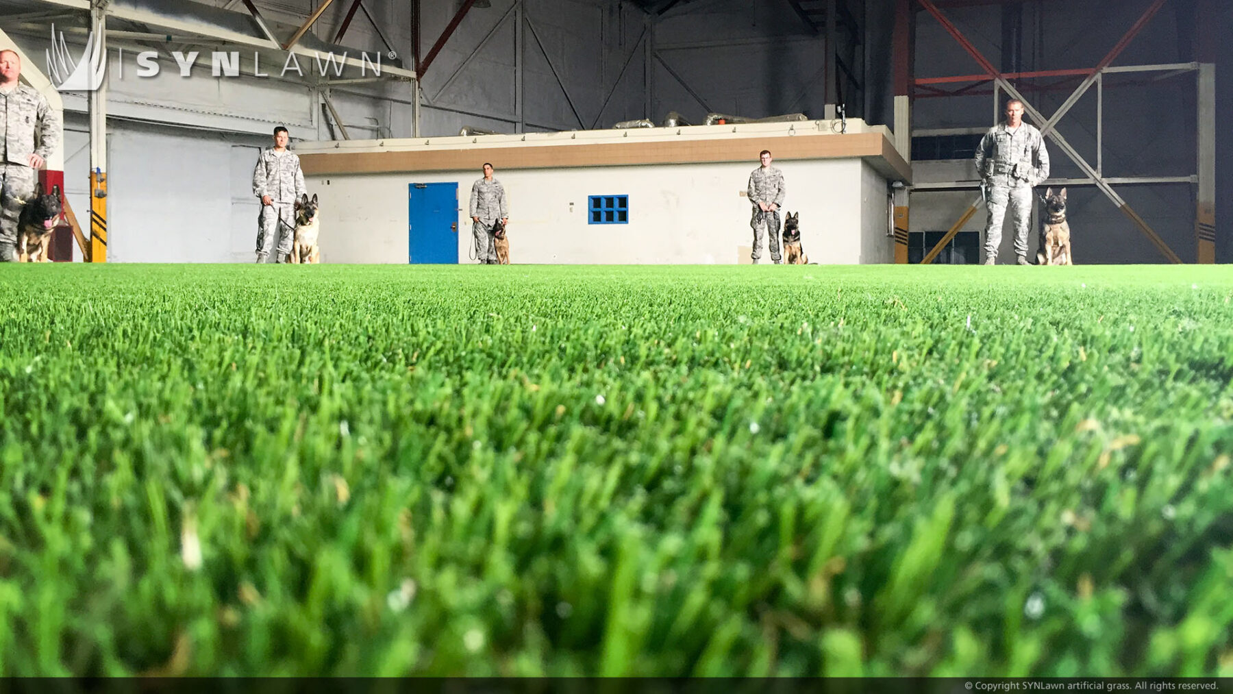 military indoor training with pet turf artificial grass