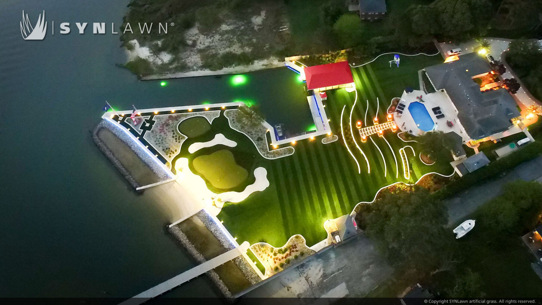 residential putting green and artificial grass installation