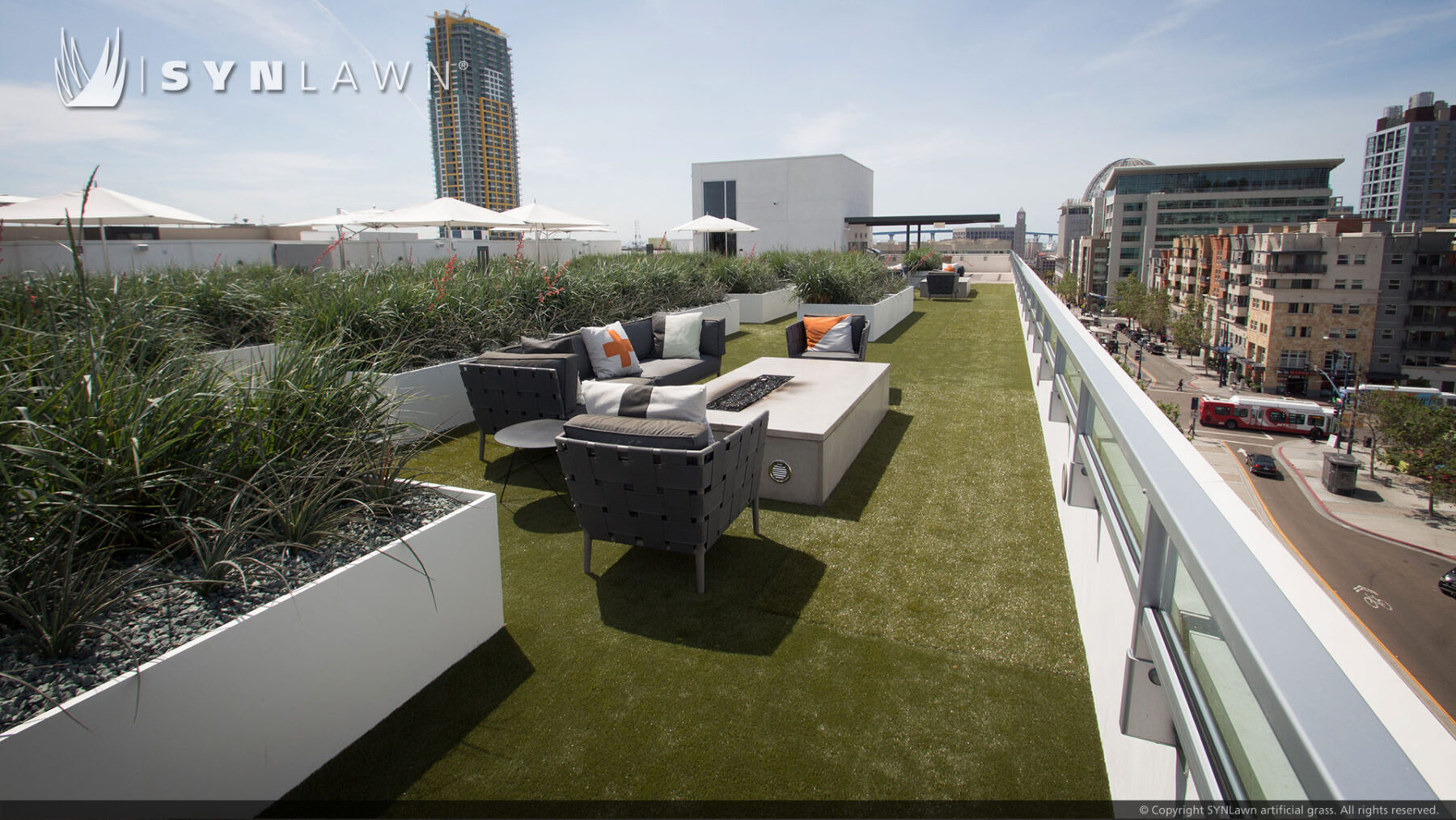 rooftop turf, artificial grass installation