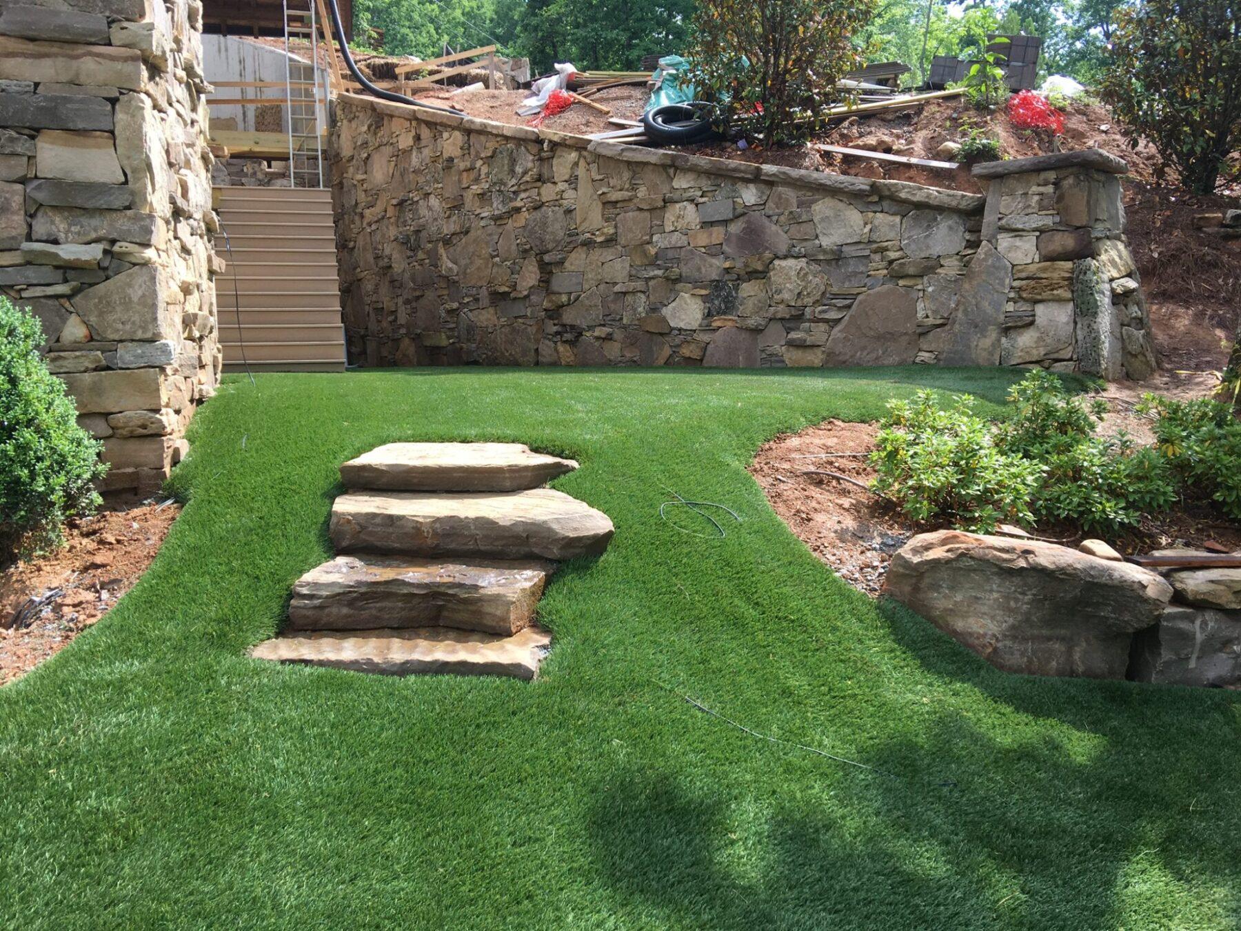 Residential backyard, new york artificial grass