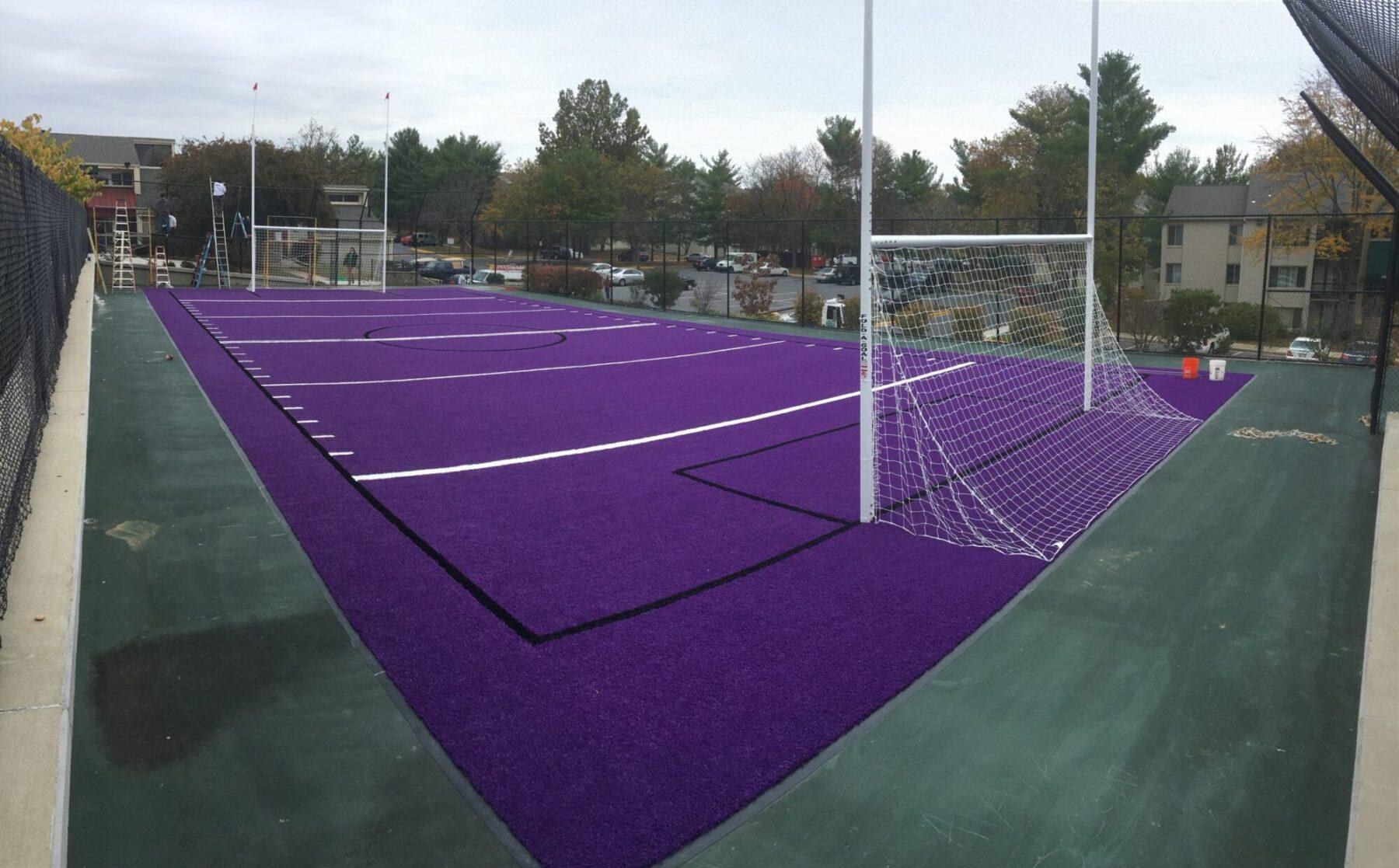sports field artificial lawn install