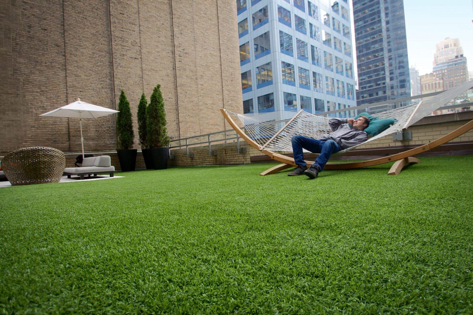 roof top artificial grass install