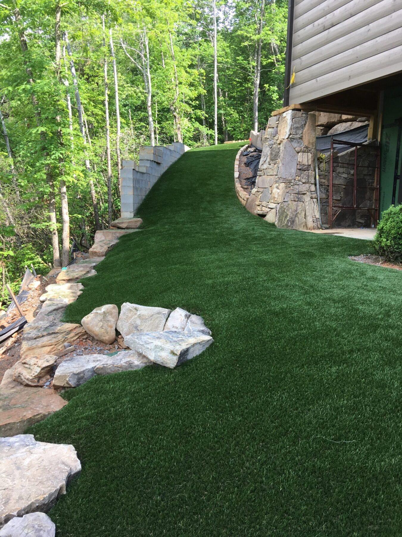 backyard affordable turf installation
