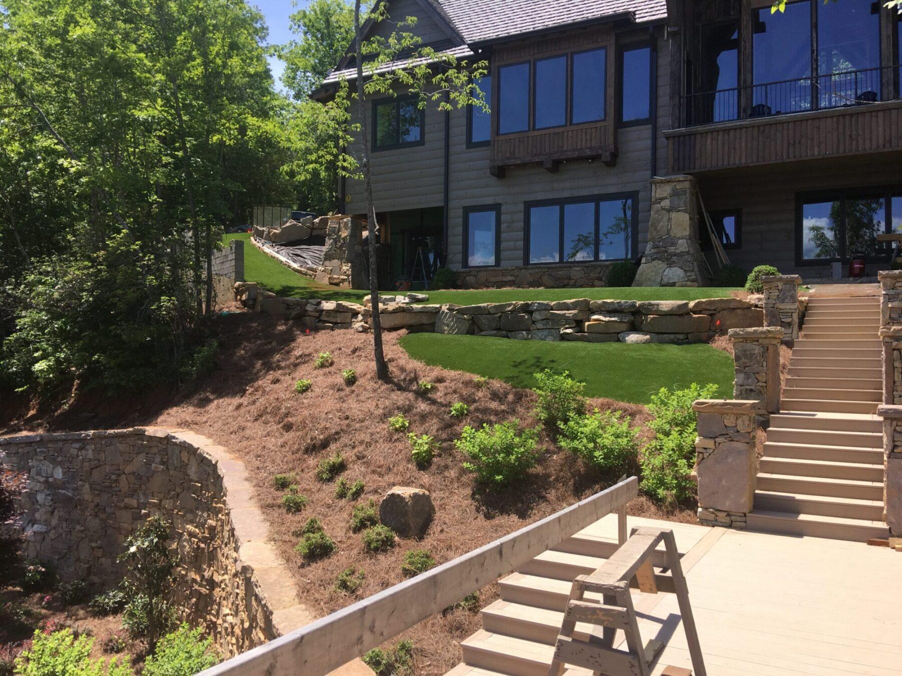 Artificial grass, backyard of residential home