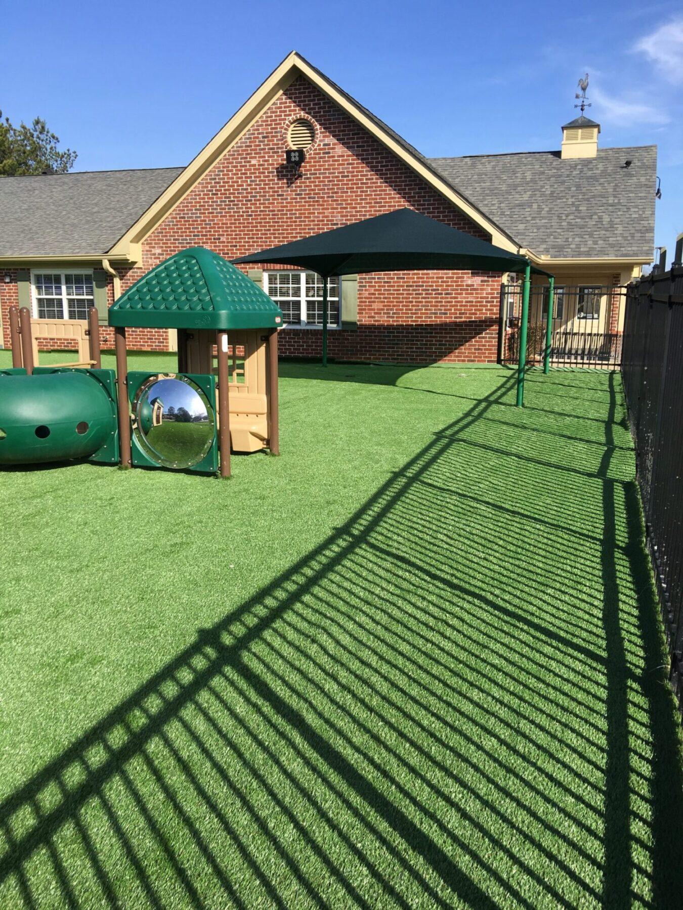 Artificial grass at playground new york school