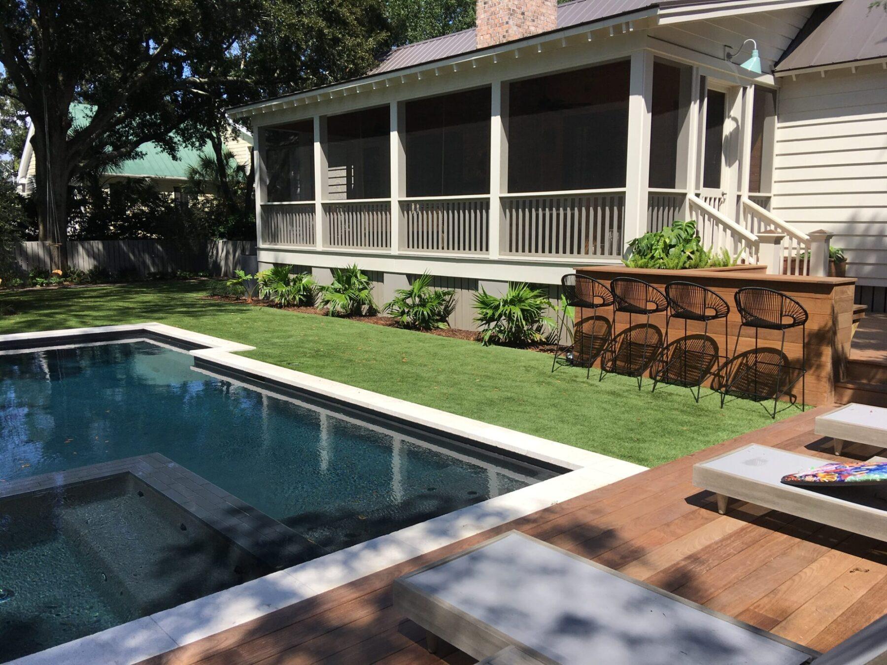 Residential backyard using artificial grass