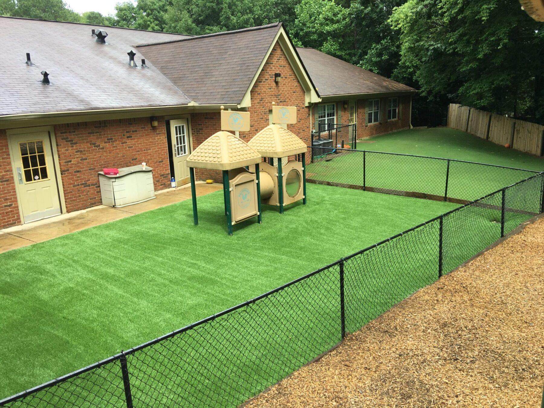 School playground artificial grass install