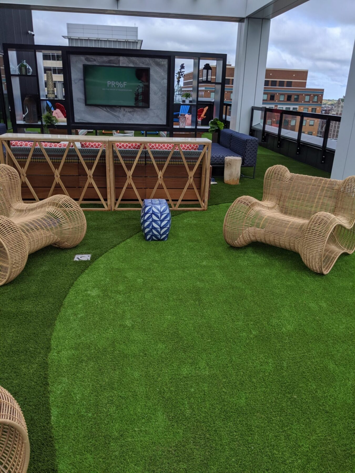 commercial rooftop, artificial grass