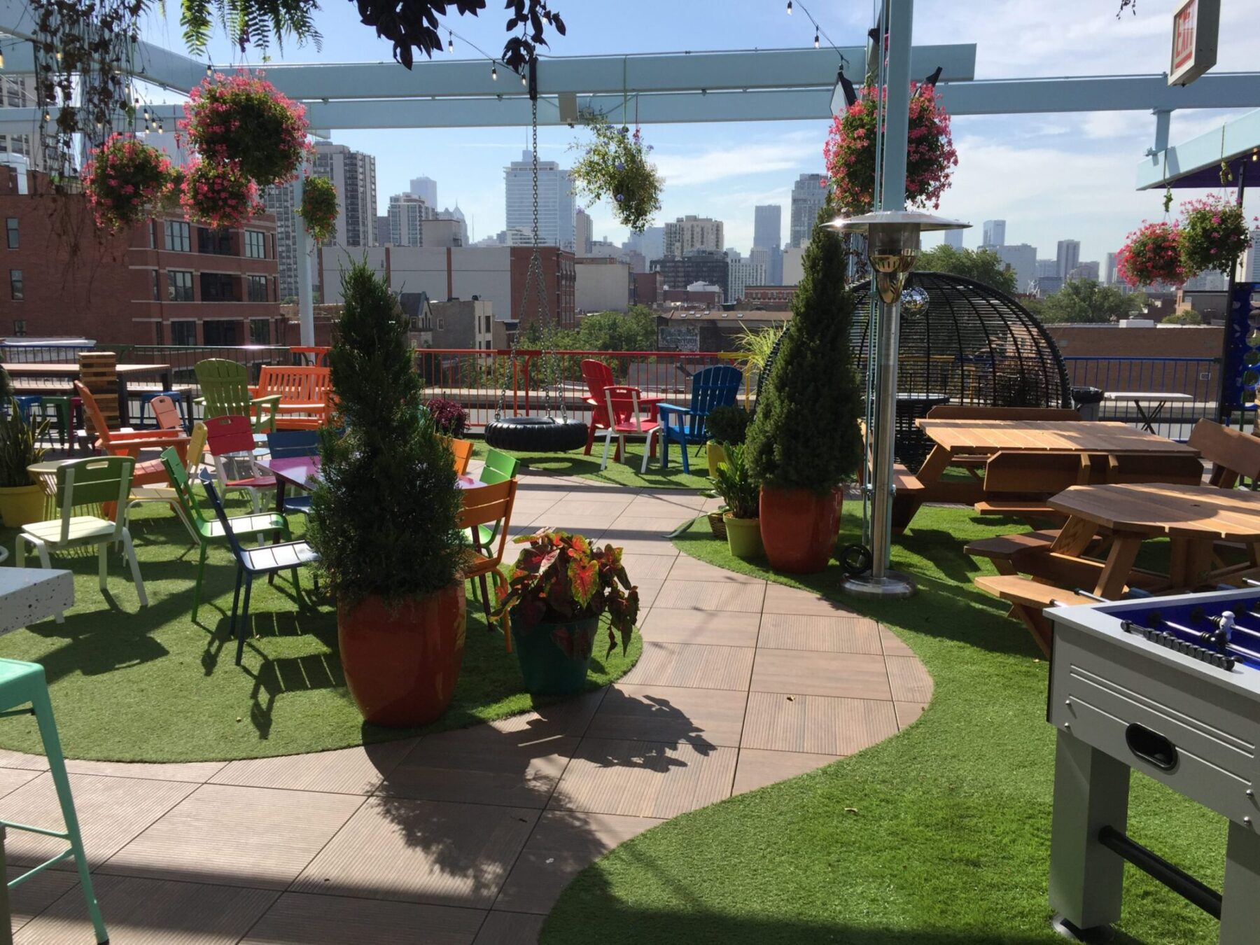 commercial lawn, artificial grass on rooftop