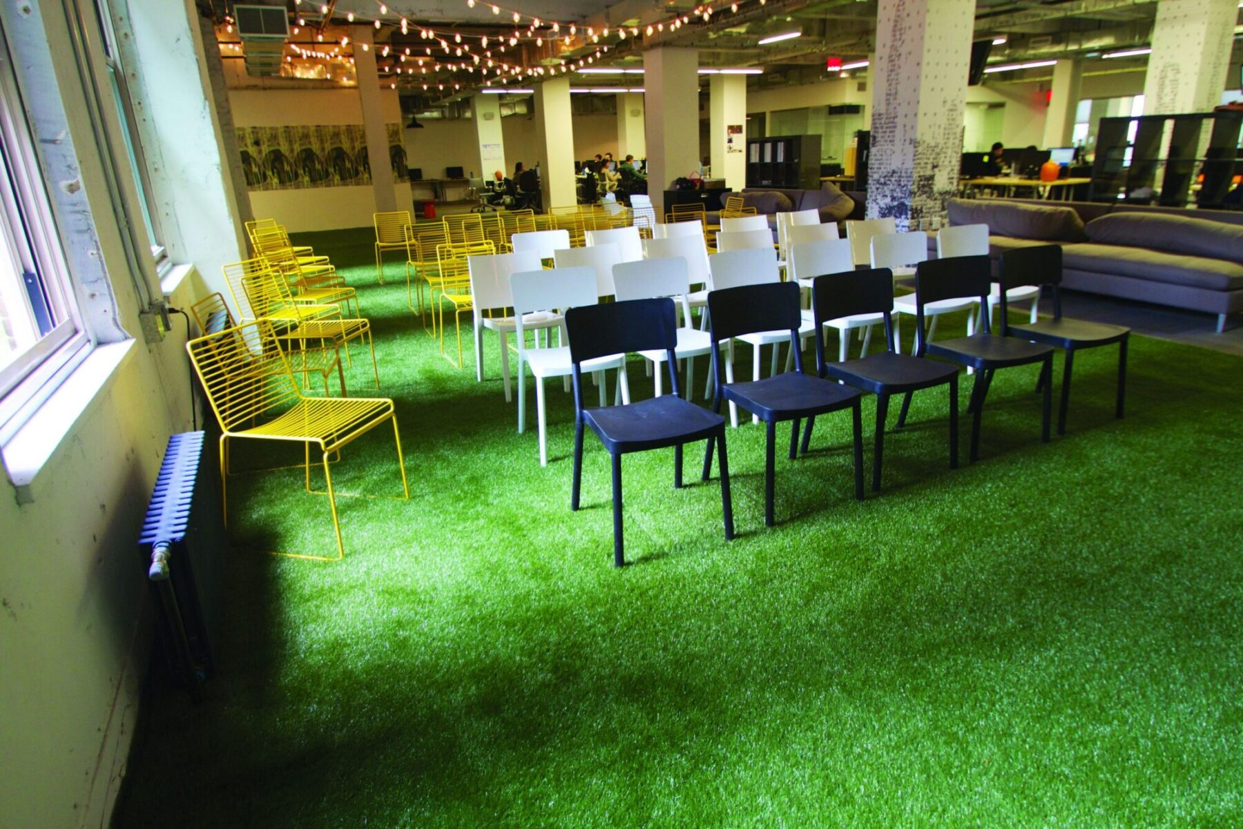 Commercial space with artificial grass install