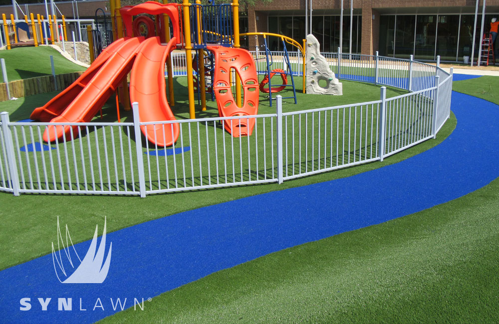 playground turf, synlawn artificial grass install