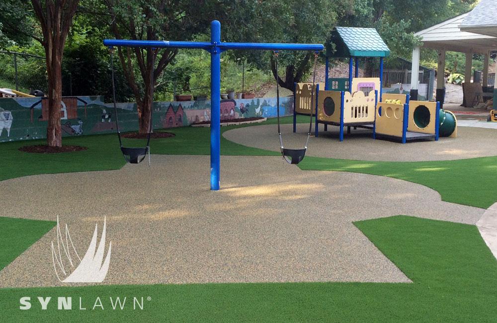 community playground artificial grass installation