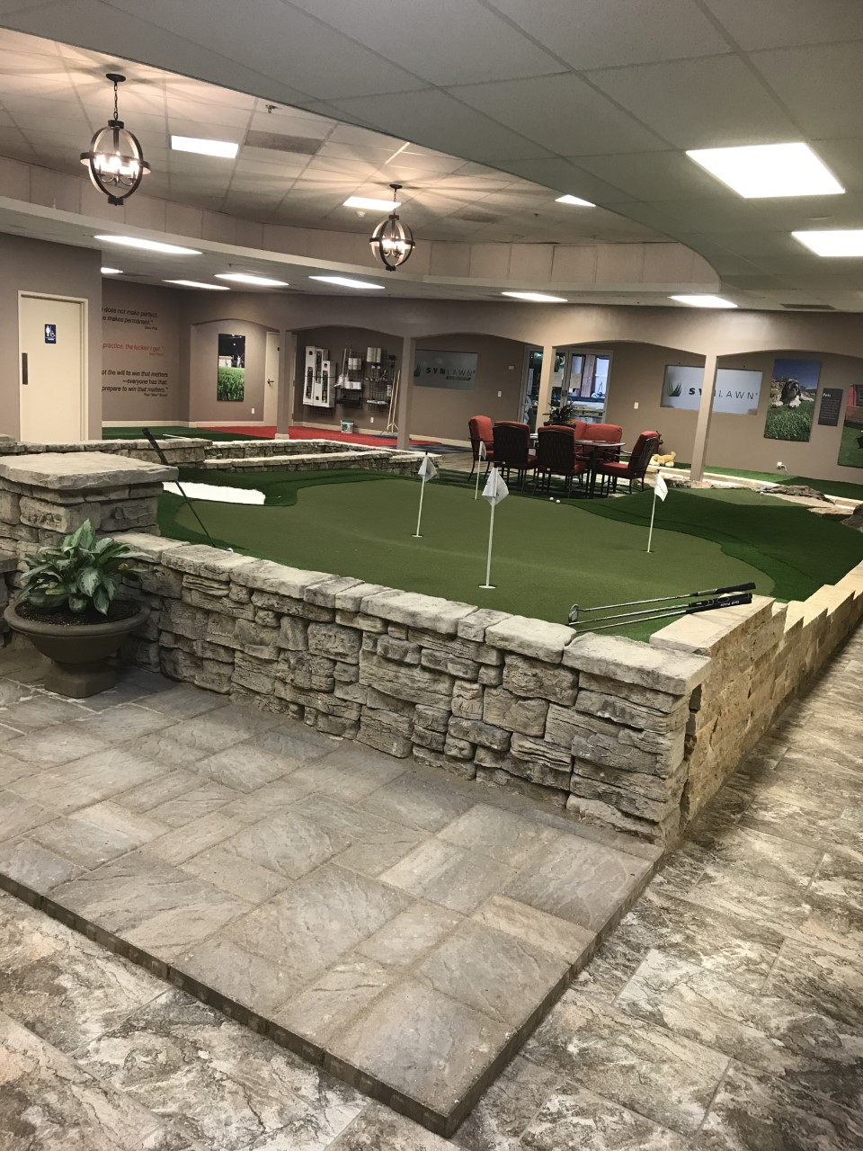 Showroom putting green with artificial grass