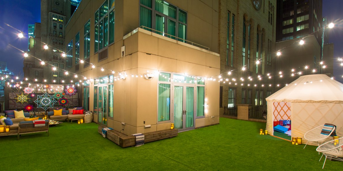 artificial rooftop lawn install